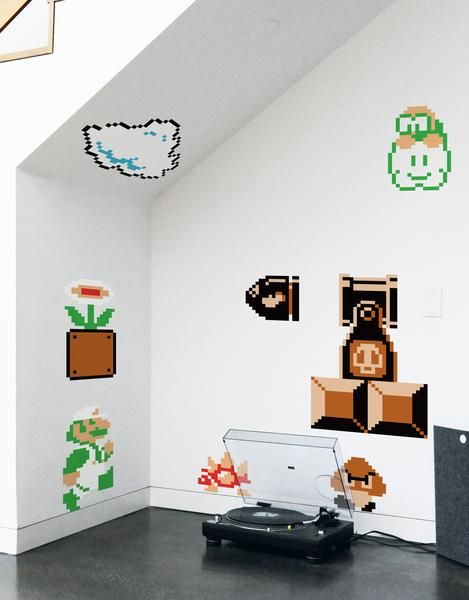 Super Mario Bros Re-Stik wall decals by BLIK are based on 8-bit graphics from the original Super Mario Bros. classic video game.