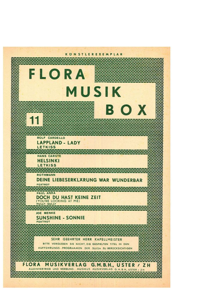 FLORA MUSIK BOX11 - LAAPPLAND LADY - HELSINKI - SUNSHINE - SONNIE - SONGBOOK