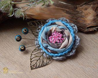Fabric Brooch. Flower Corsage Pin Brooch, Handmade, Lagenlook, Shawl Pin, Crochet Flower Pin