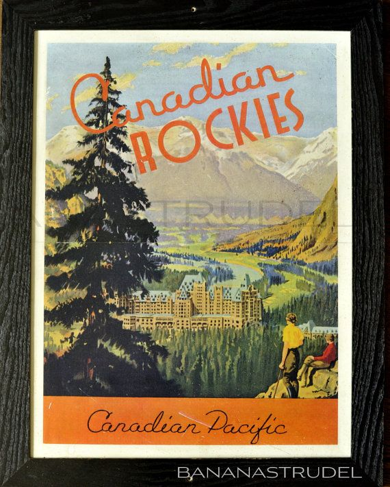 1940s 1950s Retro Framed Vintage Poster Of Banff Lake