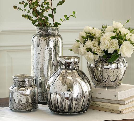 Madeline Mercury Glass And Metal Vases Metal Vase Vases