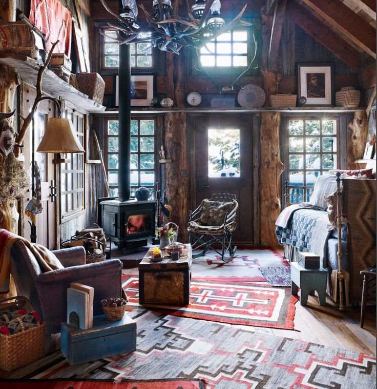 Mountain Escape: Navajo Weavings From The Early 1900s And A Warm Fire Set  The Mood · Cabin IdeasNative American ...