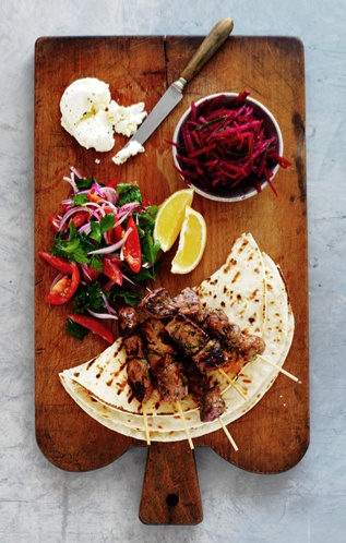 spicy lamb kebabs with beetroot relish board from March marie claire.  Photographed by Louise Lister. Recipe by Kerrie Worner. Styling Jane Roarty. Produced by Emma Wheater
