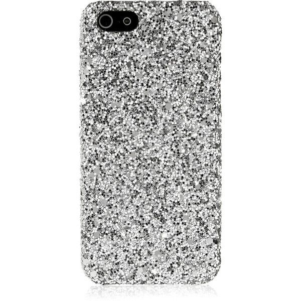 Saint Laurent Glitter-finished iPhone 5 case ($140) via Polyvore featuring accessories, tech accessories, phone cases, phone, cases, electronics, glitter iphone case, iphone cases, iphone cover case and apple iphone cases