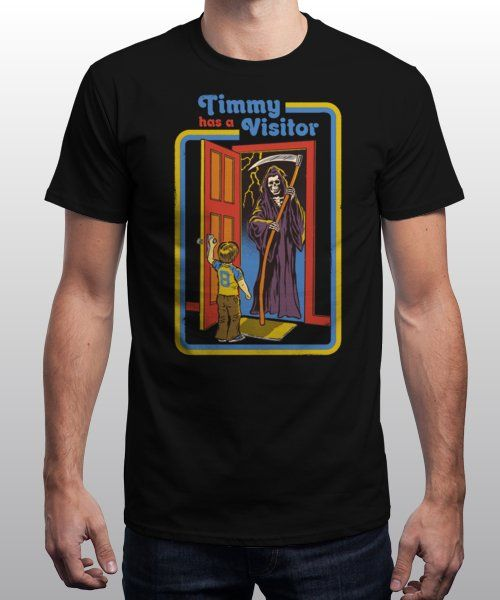 """Timmy Has A Visitor"" is today's £9/€11/$12 tee for 24 hours only on www.Qwertee.com Pin this for a chance to win a FREE TEE this weekend. Follow us on pinterest.com/qwertee for a second! Thanks:)"