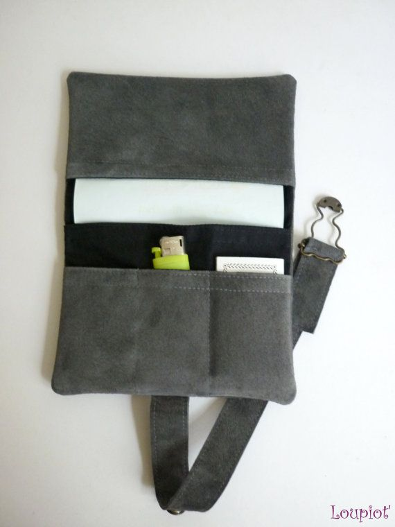 Leather tobacco pouch gray velvet pouch tobacco by loupiot on Etsy, €25.00