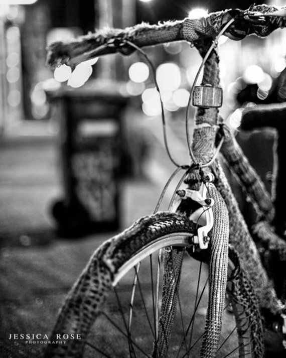 BW Photography Print, Photograph, Melbourne Fitzroy crochet Bike, 8x10