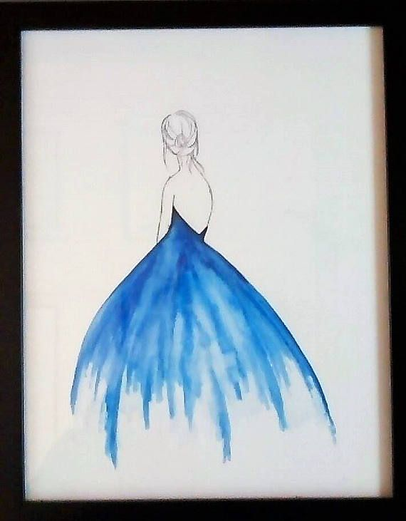 Watercolor Painting Girl Blue Black And White Simple Frame Wall