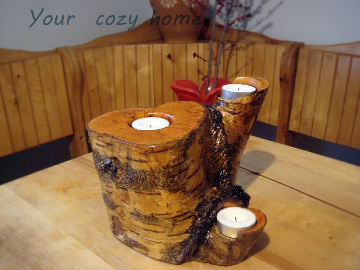 Wooden candleholder. Reclamed wood. USD 30.00