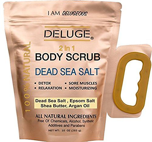 DEAD SEA SALT BODY SCRUB 100 NATURAL DEAD SEA SALT SHEA AND COCONUT OIL  VITAMIN EDETOX SORE MUSCLESRELAXATION STRESS RELIEF DRY SKIN PARABEN FREE NET WEIGHT 10 OZ *** BEST VALUE BUY on Amazon
