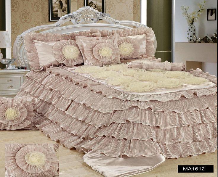 Comforter - Tache 6 Piece Luxury Beige Cinnamon Chai Ruffled Comforter Set