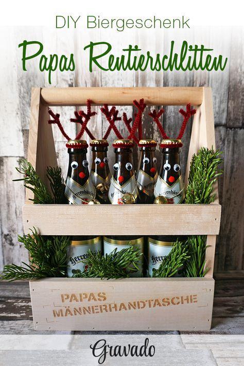 Flaschenträger aus Holz mit Gravur für Papa – Männerhandtasche