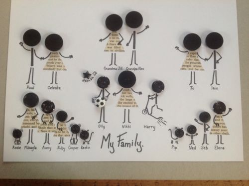 Personalised Button Family Tree Picture Wedding Birthday Anniversary Occasion in Home, Furniture & DIY, Home Decor, Wall Hangings | eBay