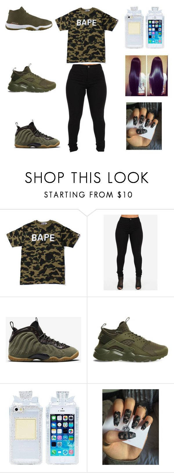 """""""bape all day"""" by aleisharodriguez ❤ liked on Polyvore featuring A BATHING APE and NIKE"""