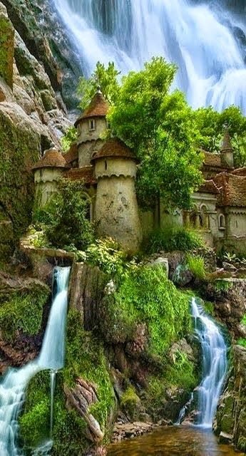 Waterfall castle in Poland - well done creative photoshop, wish it existed! Lord of the Rings-ish.