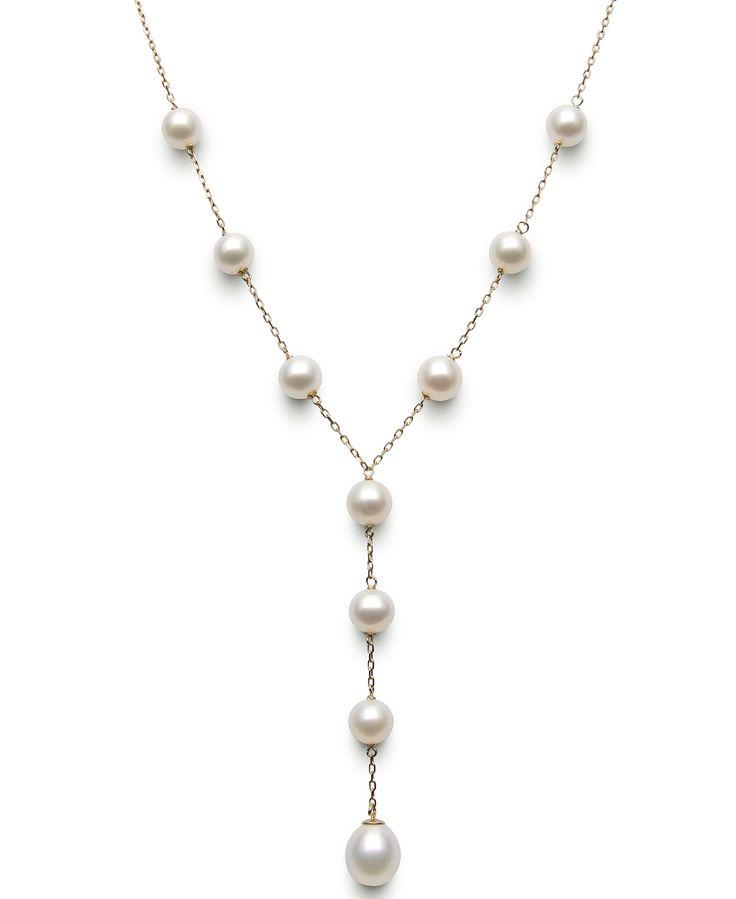 Belle de Mer 14k Gold Cultured Freshwater Pearl Dangle Station Necklace (6-9mm)