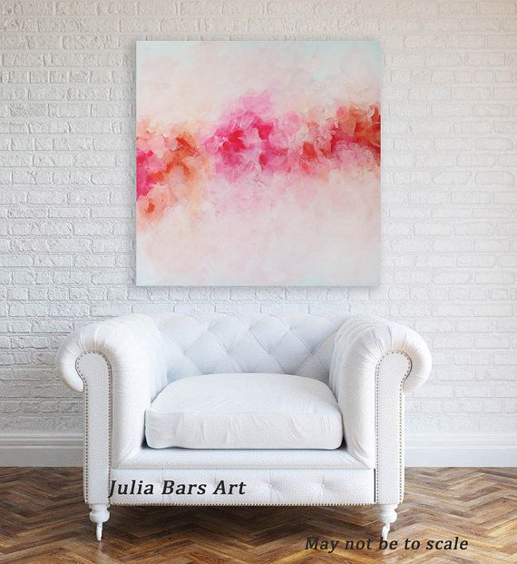 Abstract Giclee Print on Canvas, Peony Print, Fine Art Print, Floral Painting, Pink Red Peony Painting, Contemporary Wall Art, Wall Decor