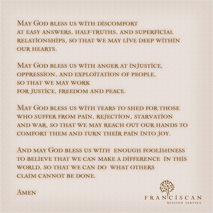 A Franciscan Benediction #prayer  If you want to change the world, join us www.franciscanmissionservice.org