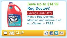 Queen Bee Coupons » Cleaning carpets? Rent a Rug Doctor save $5, plus get FREE 48 oz cleaner ($14.99 value)