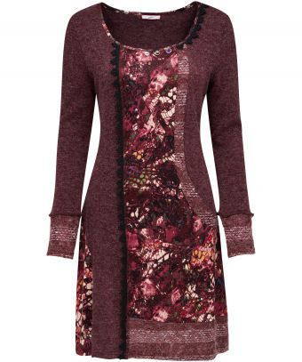 Warm up this winter in this rich textured dress. We love the complementing colours and pretty lace detailing, perfect for autumn days. Approx Length: 92cm Our model is: 5'7""