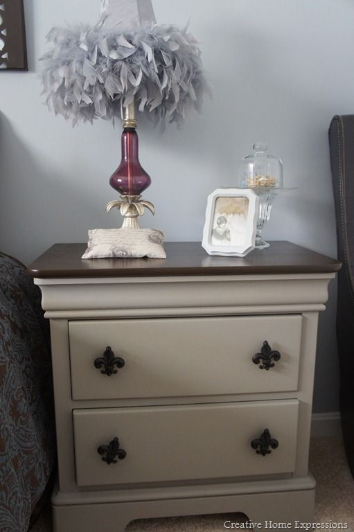 Beautifully refinished bedside table.  General Finishes gel stain in antique walnut on the top.