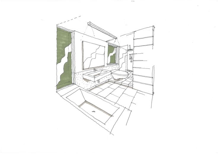 sketch of a proposed bathroom renovation to a house in Newlands, Cape Town.
