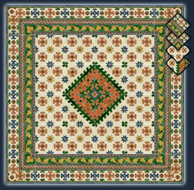 Панно из керамической плитки BOUQUE ARTISANAL. Тунисская майолика, ручная роспись. Doremail, Тунис