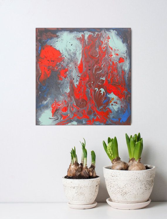 Abstract art small paintings blue red canvas by artstudioAreti