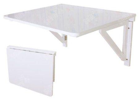 SoBuy FWT05-W Table murale rabattable pliable en bois 75×60cm, Table de cuisine à rabat -Blanc