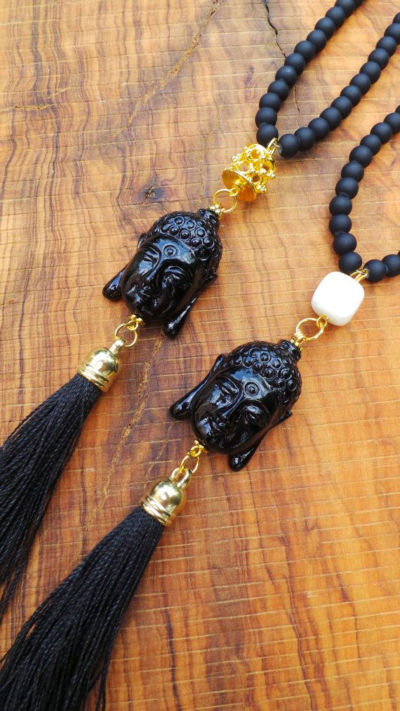 Long beaded buddha tassel necklace. Buddha by AllAboutEveCreations, $35.00