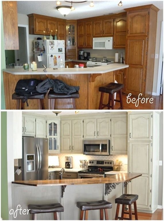 Before And After Painted Ugly Kitchen Cabinets