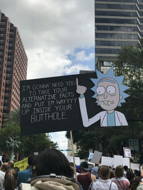 Funny Rick and Morty protest sign