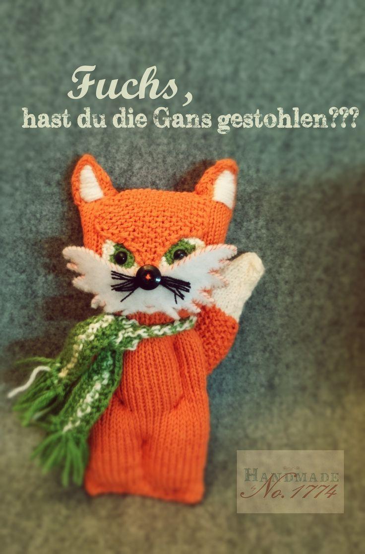 Fuchs - gestrickt - Kuscheltier - Kind - Baby - knitted - Fox - Schal - orange - wald - Handmade