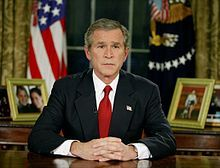 President George W. Bush addresses the nation from the Oval Office, 19 March 2003, to announce the beginning of Operation Iraqi Freedom.
