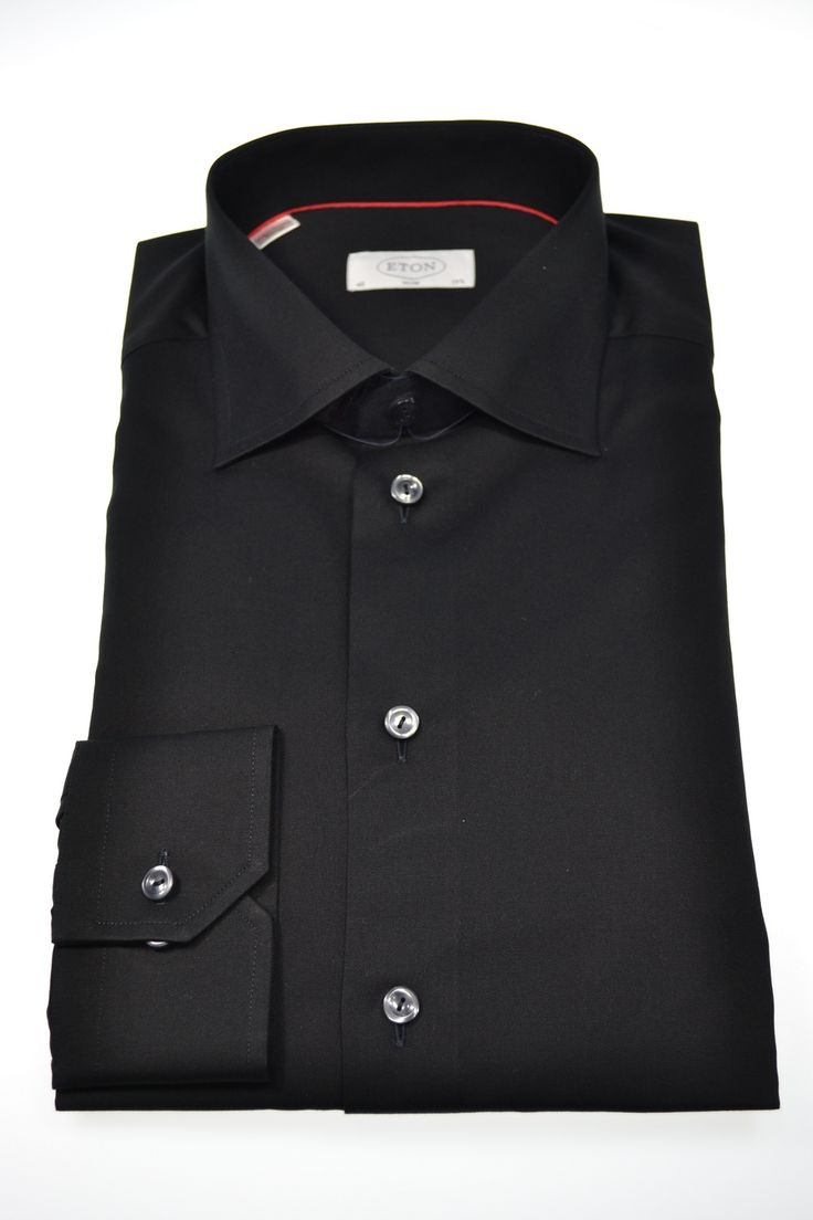 Eton Black Cotton Slim Shirting. Available @ tomvespa.com.au