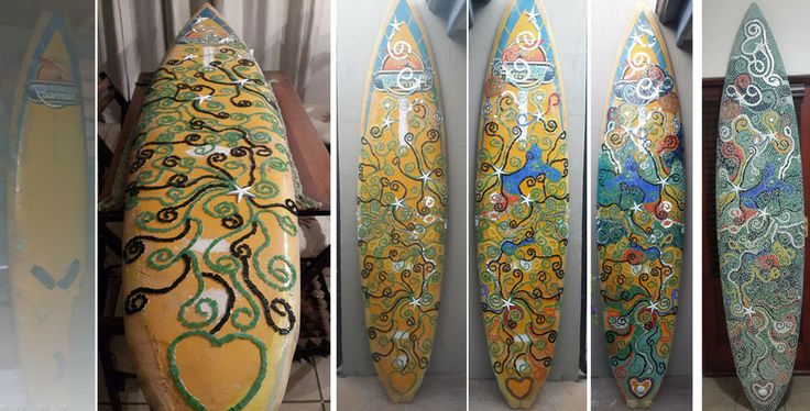 Mosaic tiles on the surf board, stages.