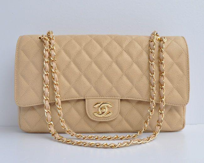 Chanel Apricot Caviar Gold Chain Flap Bag 1113 Handbagschanel Bags Replica