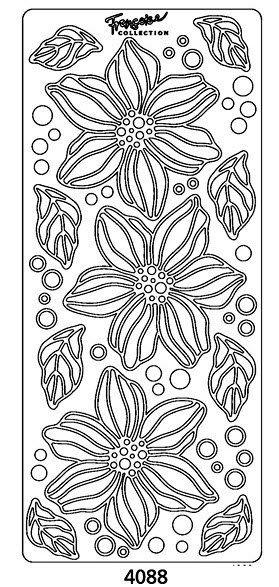 Peel-Offs Vinyl Stickers Large Bloom with Leaves-4088B- Black