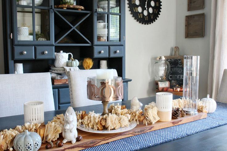 Fall home tour. Farmhouse style dining room with more muted colors and a pop of blue.