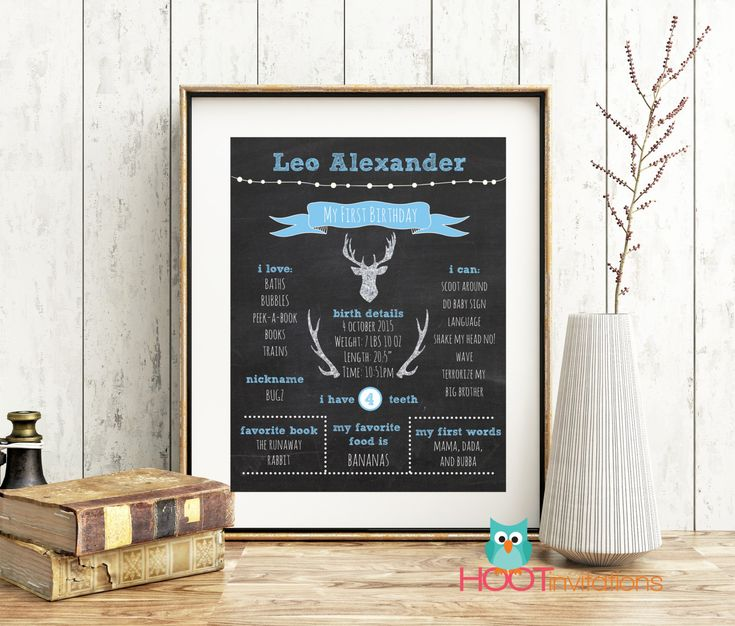 First Birthday Chalkboard sign - Blue Silver Deer Antlers from HOOTinvitations