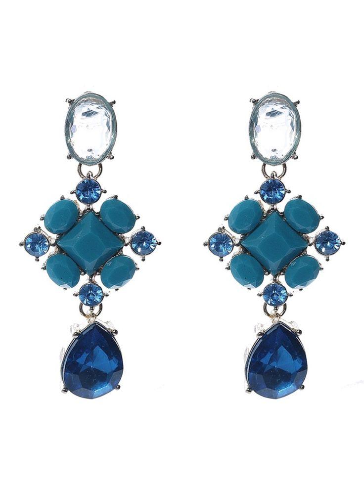 Coloured Candy – Blauwe Kristallen Oorbellen