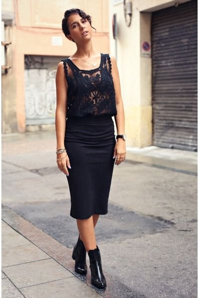 pencil skirt and boots fashion ideas