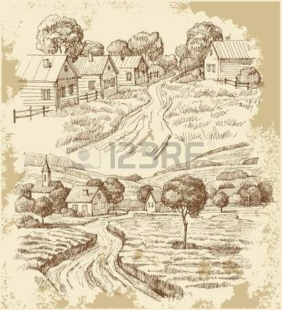 деревня: Деревенские дома эскиз с едой
