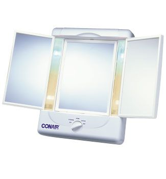 conair illumina three panel makeup mirror light settings from the conair illumina collection this triple panel mirror is a handsome accessory