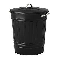 KNODD Ton met deksel - zwart, 40 l - IKEA (vuilbak voor in de keuken) €17 voor vuilzakken