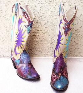 Hand Painted Snakeskin Leather Dan Post Cowboy Boots 6 5 Women's Vintage | eBay