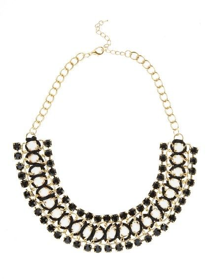 Black and white bib Necklace with stones R250