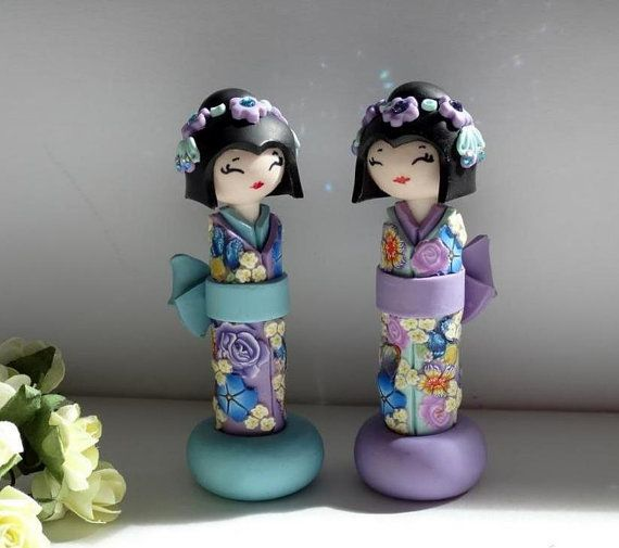 Miniature Doll Japanese Doll in Shabby chic Light Blue by efiwarsh, $40.00