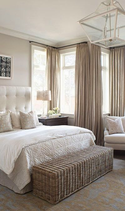 neutral calming master bedroom beige cream tufted headboard bed - Cream Bedrooms Ideas