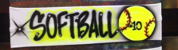 Customized Airbrush Softball Headband by OBEYYOUROBSESSION on Etsy https://www.etsy.com/listing/225230966/customized-airbrush-softball-headband